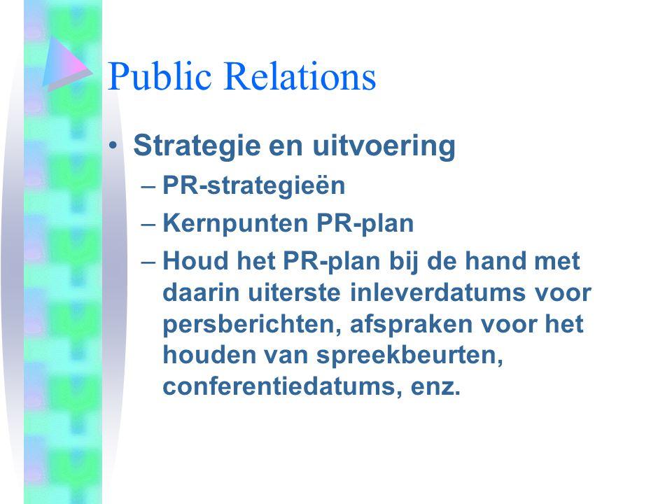 Public Relations Strategie en uitvoering PR-strategieën