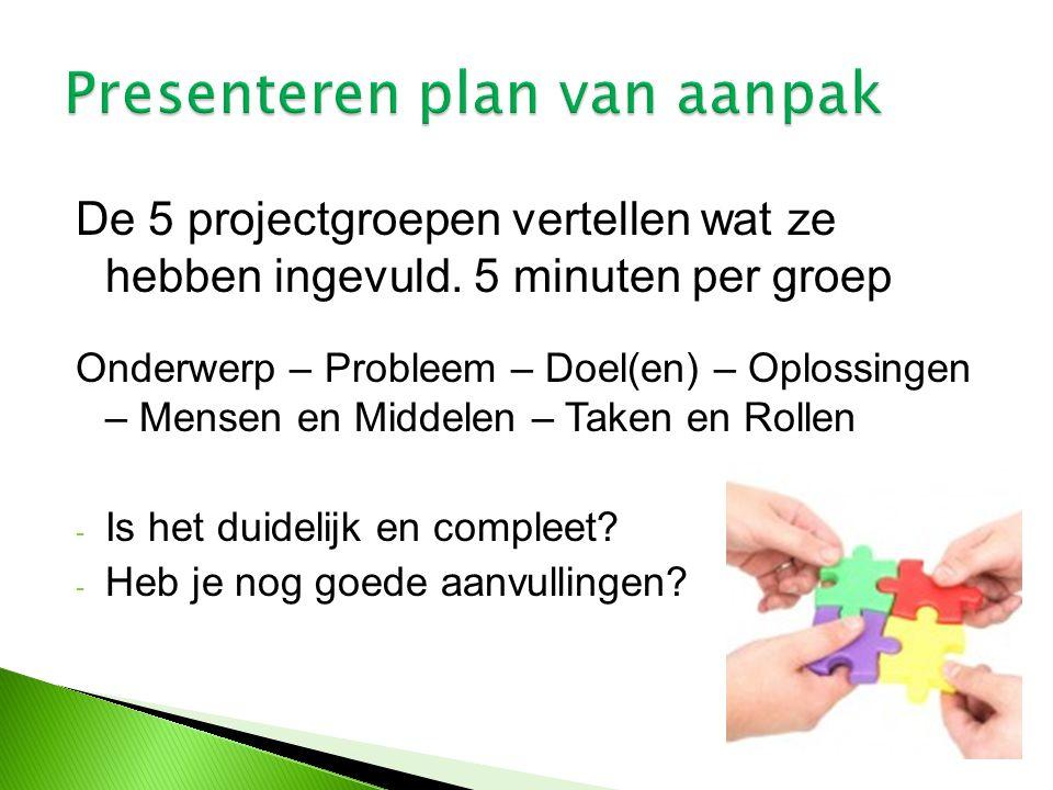 Presenteren plan van aanpak