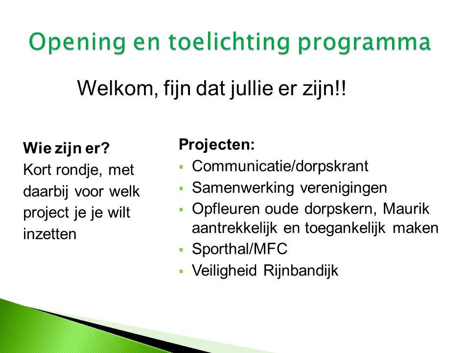 Opening en toelichting programma