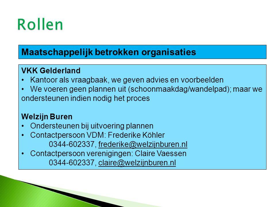 Rollen Maatschappelijk betrokken organisaties VKK Gelderland