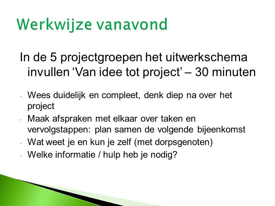 Werkwijze vanavond In de 5 projectgroepen het uitwerkschema invullen 'Van idee tot project' – 30 minuten.