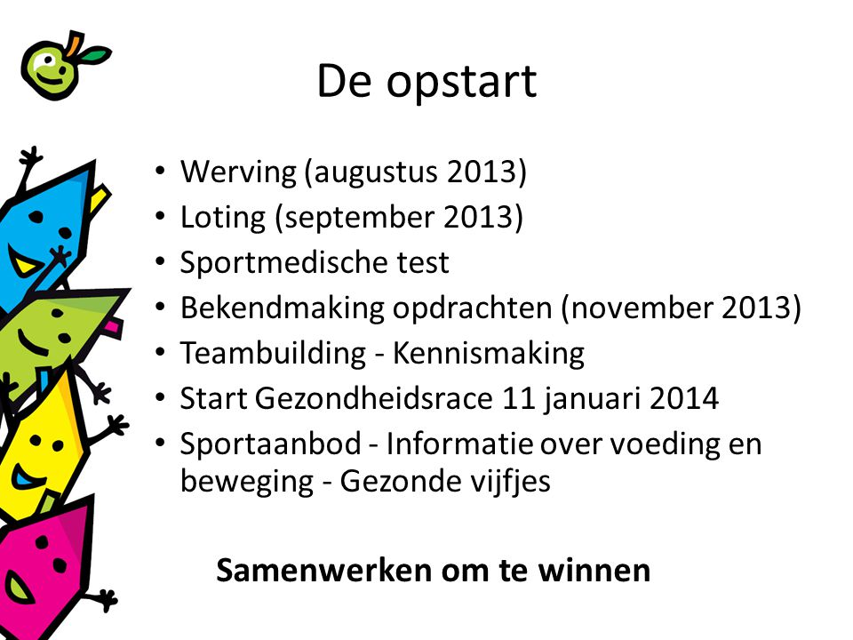 De opstart Werving (augustus 2013) Loting (september 2013)