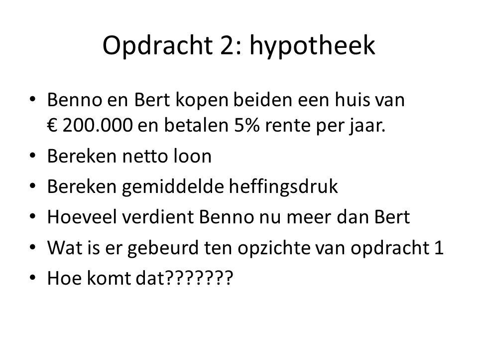 Opdracht 2: hypotheek Benno en Bert kopen beiden een huis van € 200.000 en betalen 5% rente per jaar.