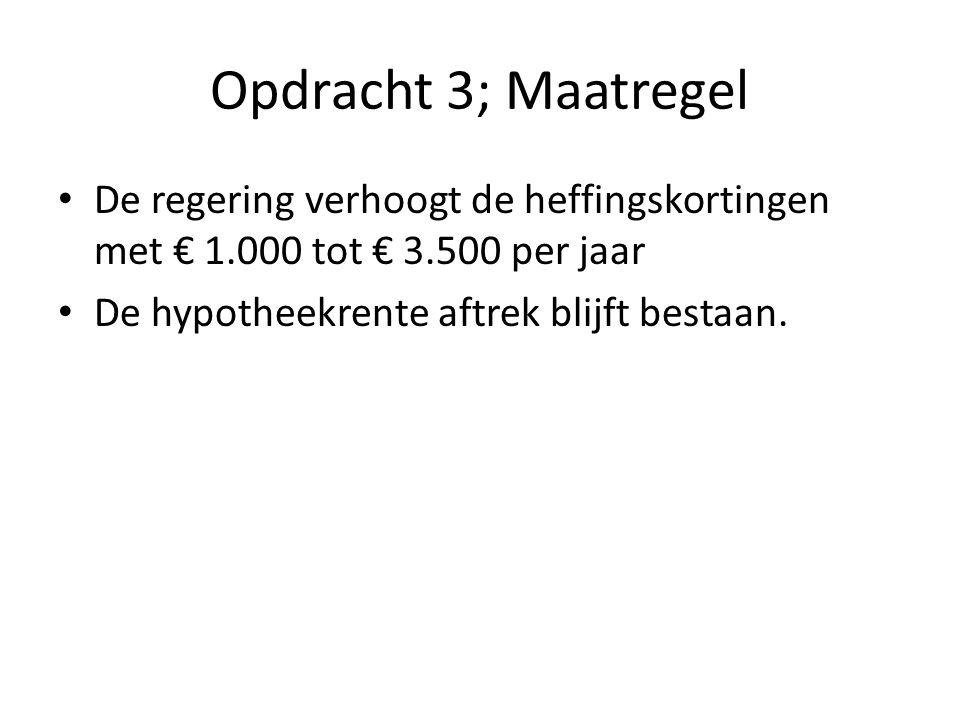 Opdracht 3; Maatregel De regering verhoogt de heffingskortingen met € 1.000 tot € 3.500 per jaar.