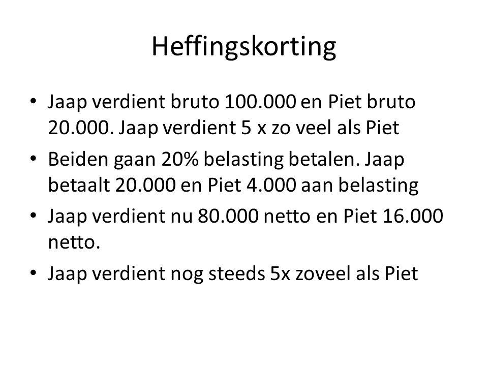 Heffingskorting Jaap verdient bruto 100.000 en Piet bruto 20.000. Jaap verdient 5 x zo veel als Piet.