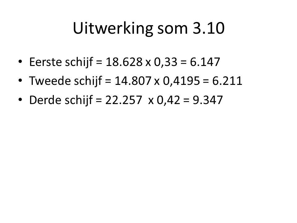 Uitwerking som 3.10 Eerste schijf = 18.628 x 0,33 = 6.147