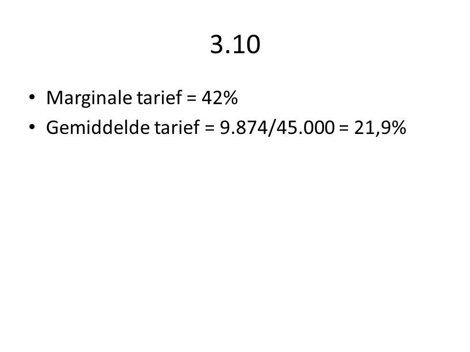 3.10 Marginale tarief = 42% Gemiddelde tarief = 9.874/45.000 = 21,9%