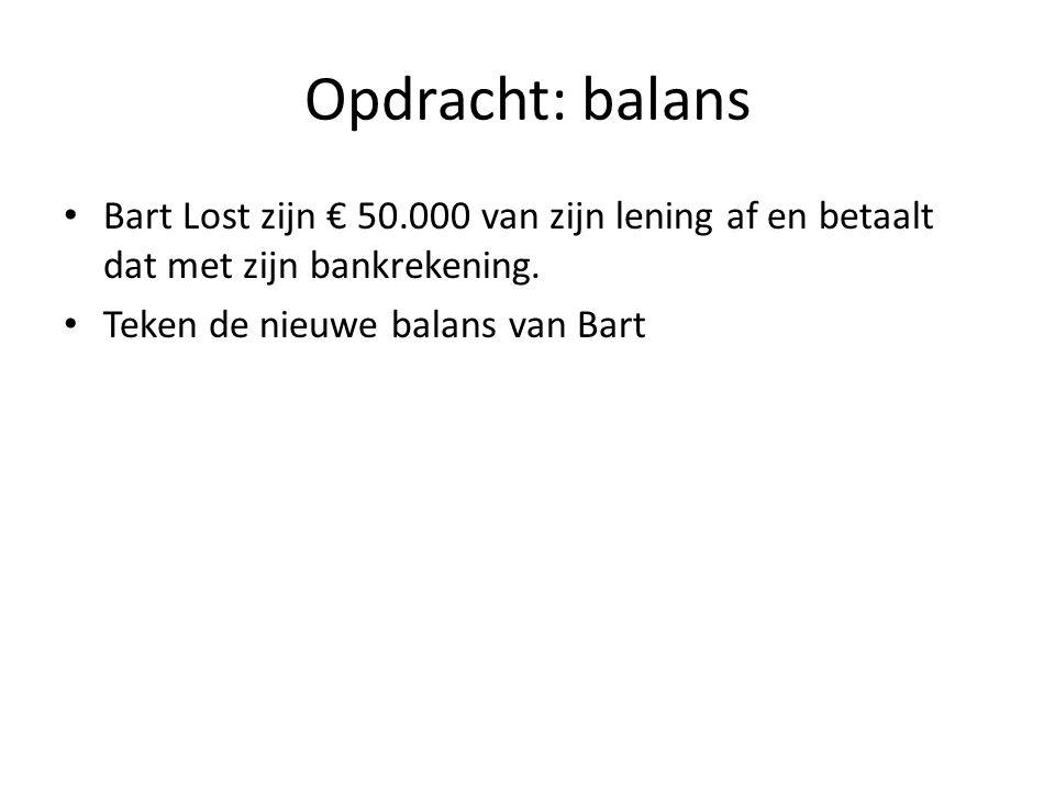 Opdracht: balans Bart Lost zijn € 50.000 van zijn lening af en betaalt dat met zijn bankrekening.