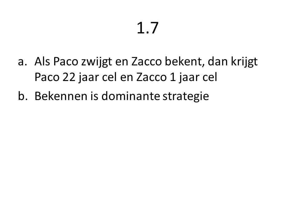 1.7 Als Paco zwijgt en Zacco bekent, dan krijgt Paco 22 jaar cel en Zacco 1 jaar cel.