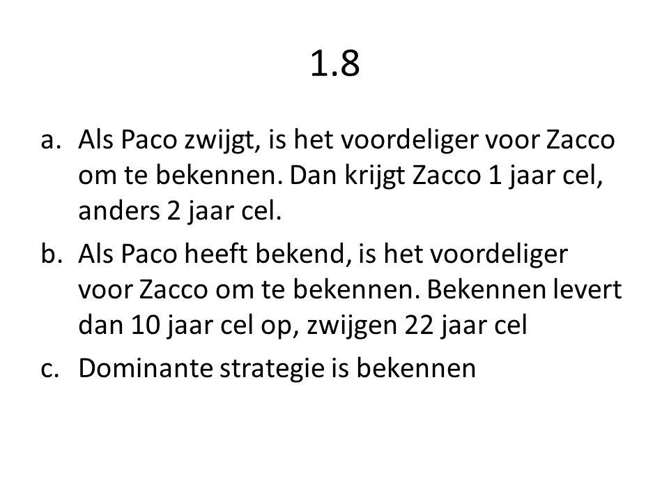 1.8 Als Paco zwijgt, is het voordeliger voor Zacco om te bekennen. Dan krijgt Zacco 1 jaar cel, anders 2 jaar cel.