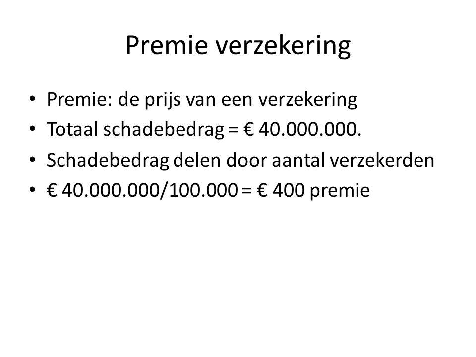 Premie verzekering Premie: de prijs van een verzekering