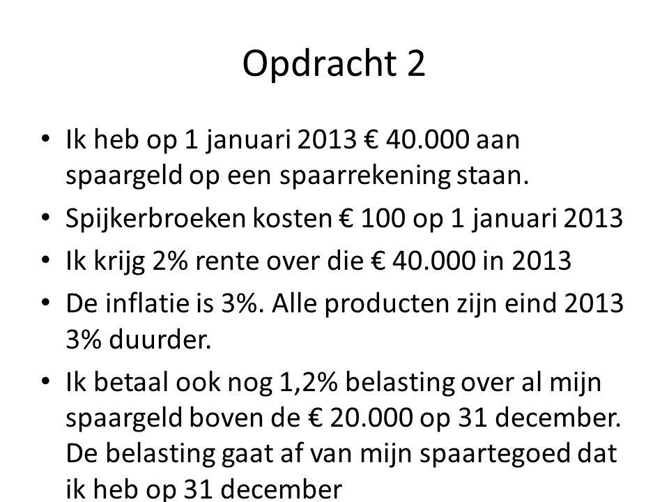 Opdracht 2 Ik heb op 1 januari 2013 € 40.000 aan spaargeld op een spaarrekening staan. Spijkerbroeken kosten € 100 op 1 januari 2013.