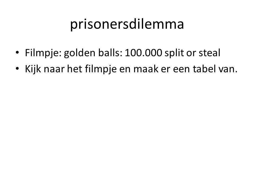 prisonersdilemma Filmpje: golden balls: 100.000 split or steal