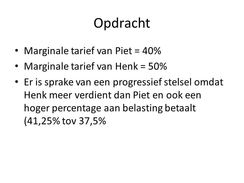 Opdracht Marginale tarief van Piet = 40%