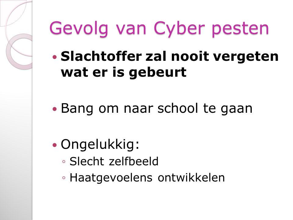 Gevolg van Cyber pesten