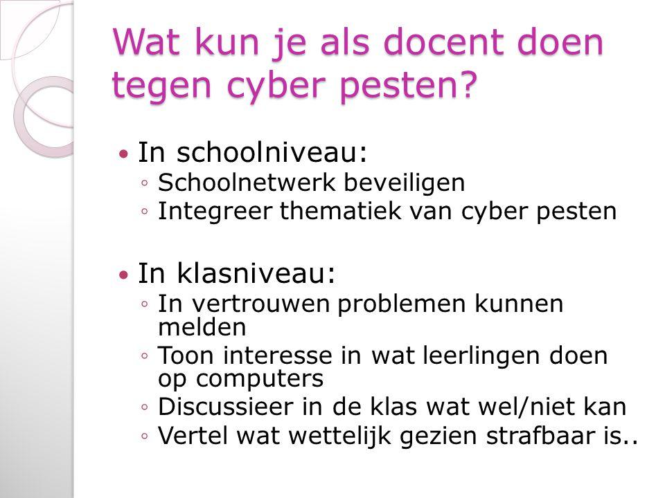 Wat kun je als docent doen tegen cyber pesten