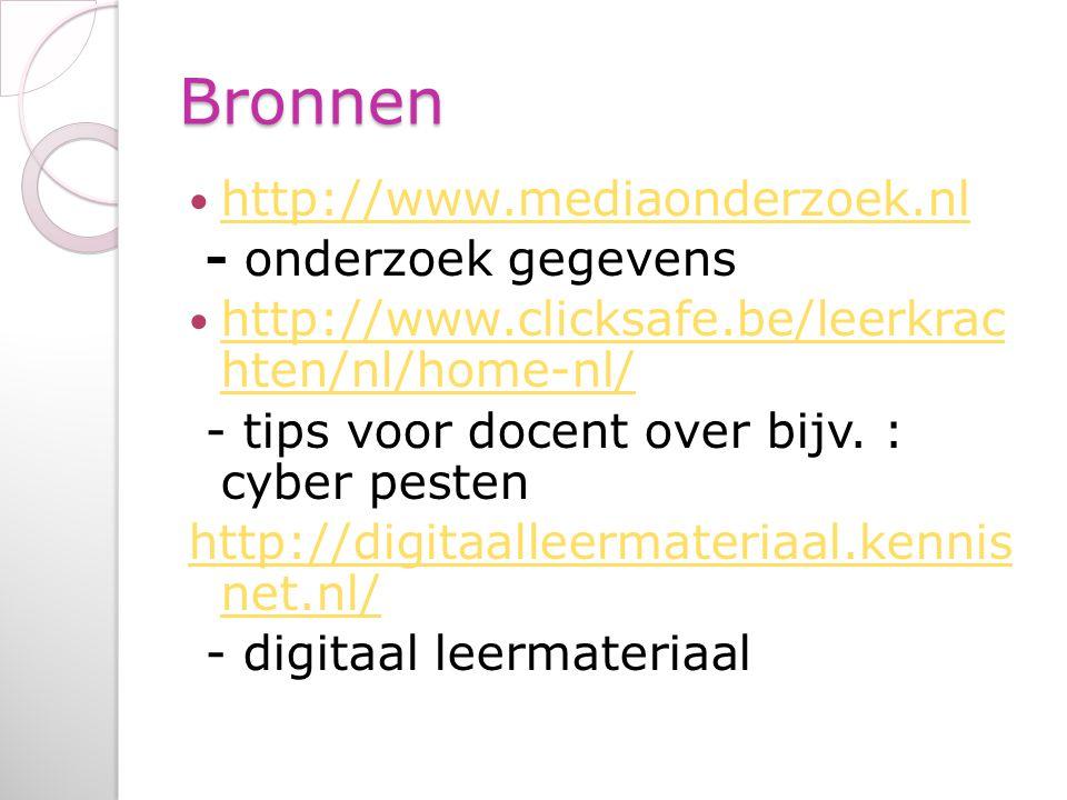 Bronnen http://www.mediaonderzoek.nl - onderzoek gegevens