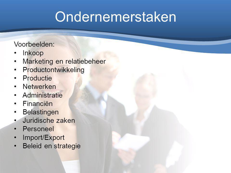Ondernemerstaken Voorbeelden: Inkoop Marketing en relatiebeheer