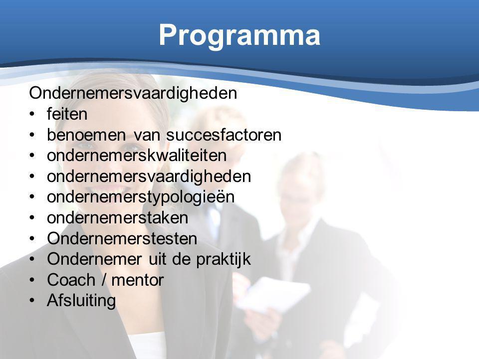 Programma Ondernemersvaardigheden feiten benoemen van succesfactoren