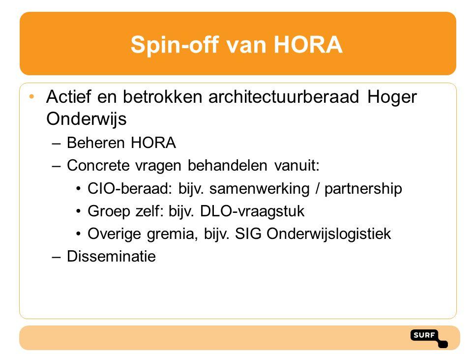 Spin-off van HORA Actief en betrokken architectuurberaad Hoger Onderwijs. Beheren HORA. Concrete vragen behandelen vanuit: