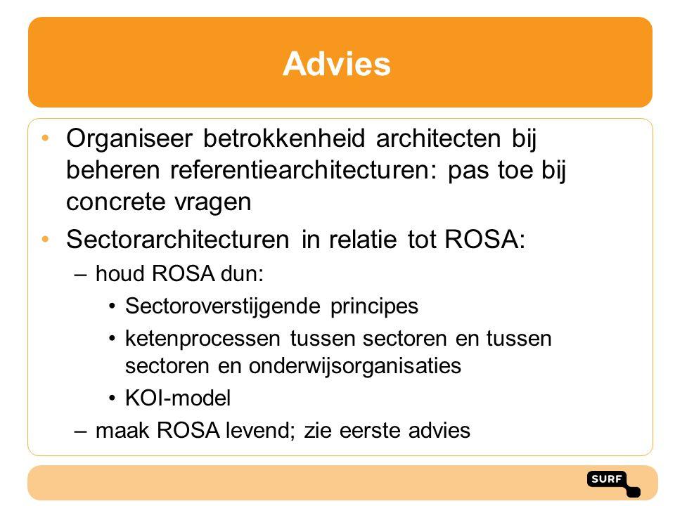 Advies Organiseer betrokkenheid architecten bij beheren referentiearchitecturen: pas toe bij concrete vragen.