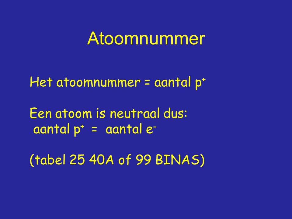 Atoomnummer Het atoomnummer = aantal p+ Een atoom is neutraal dus: