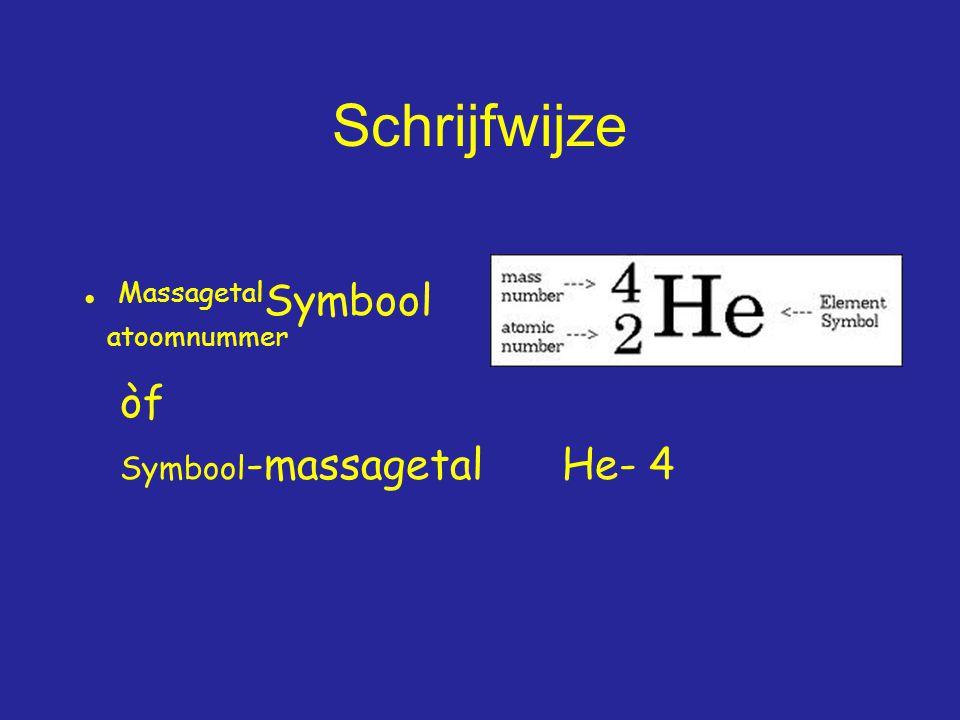 Schrijfwijze MassagetalSymbool atoomnummer òf Symbool-massagetal He- 4