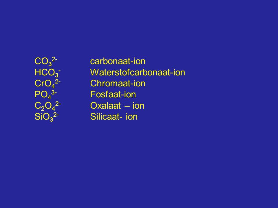 CO32- carbonaat-ion HCO3- Waterstofcarbonaat-ion. CrO42- Chromaat-ion. PO43- Fosfaat-ion. C2O42- Oxalaat – ion.