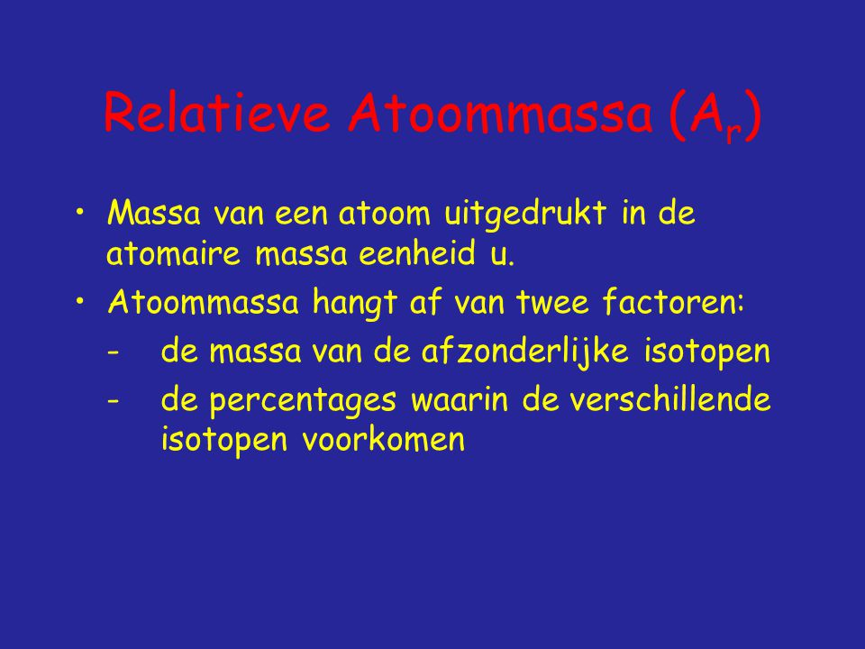 Relatieve Atoommassa (Ar)