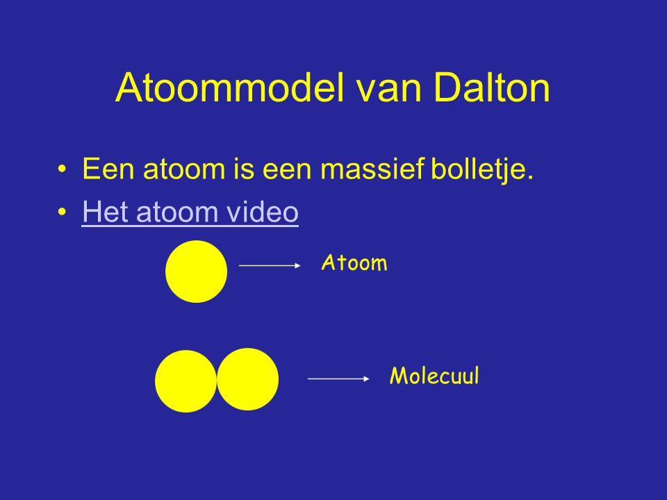 Atoommodel van Dalton Een atoom is een massief bolletje.