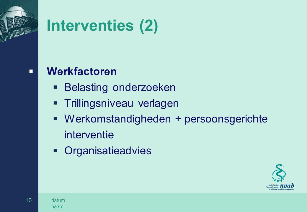 Interventies (2) Werkfactoren Belasting onderzoeken