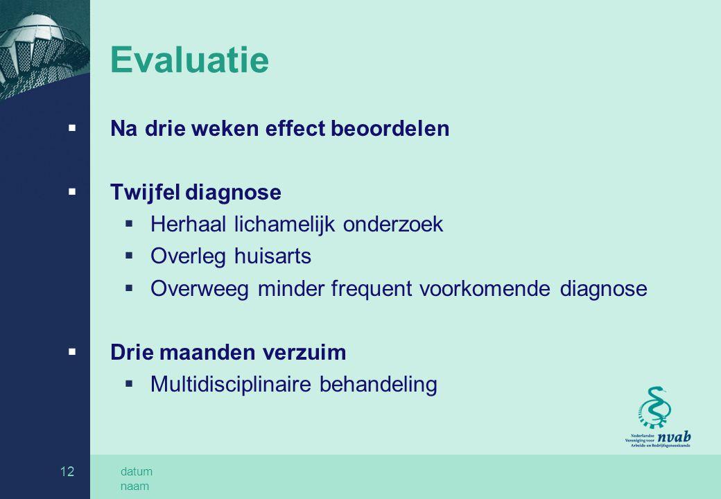 Evaluatie Na drie weken effect beoordelen Twijfel diagnose