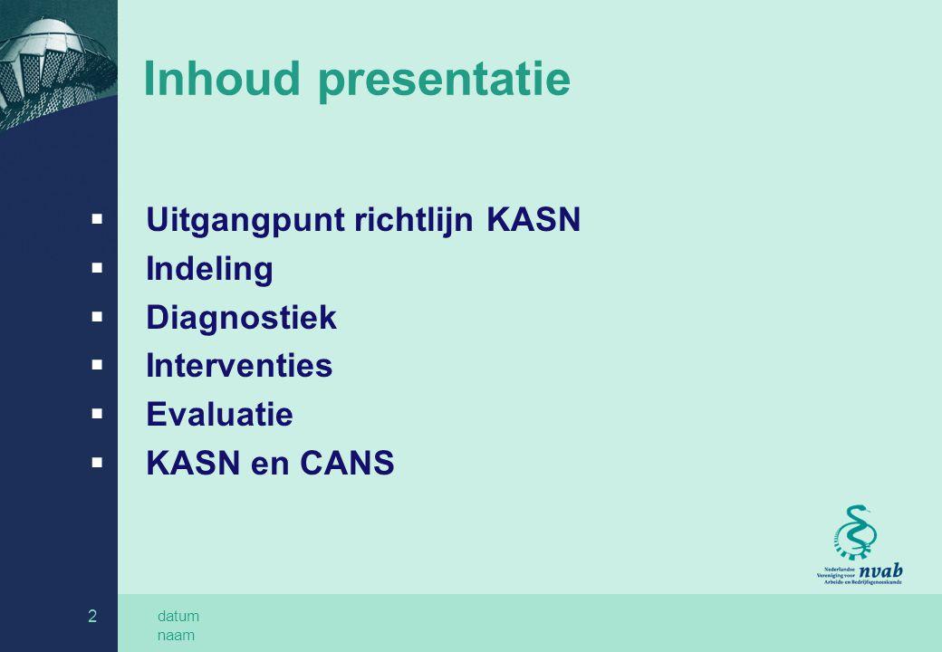Inhoud presentatie Uitgangpunt richtlijn KASN Indeling Diagnostiek