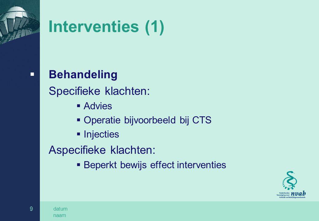 Interventies (1) Behandeling Specifieke klachten: