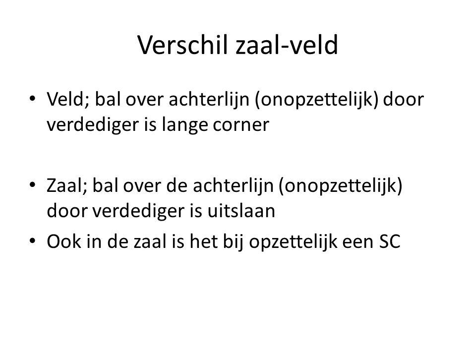 Verschil zaal-veld Veld; bal over achterlijn (onopzettelijk) door verdediger is lange corner.