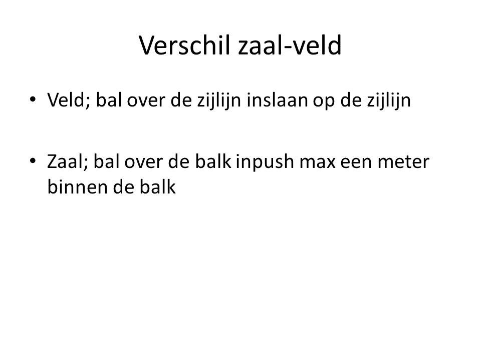 Verschil zaal-veld Veld; bal over de zijlijn inslaan op de zijlijn