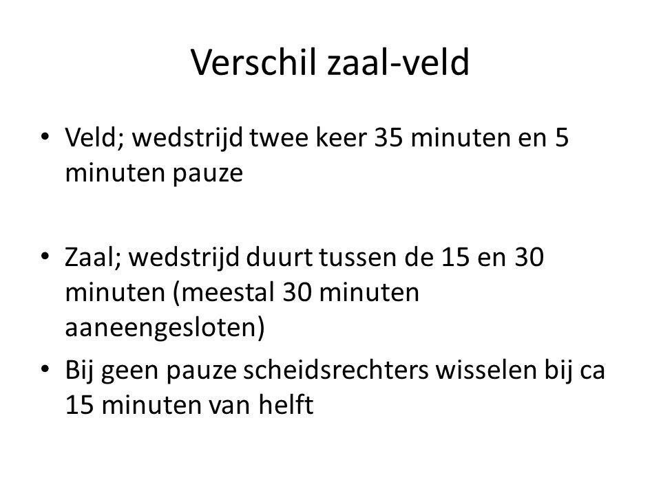 Verschil zaal-veld Veld; wedstrijd twee keer 35 minuten en 5 minuten pauze.