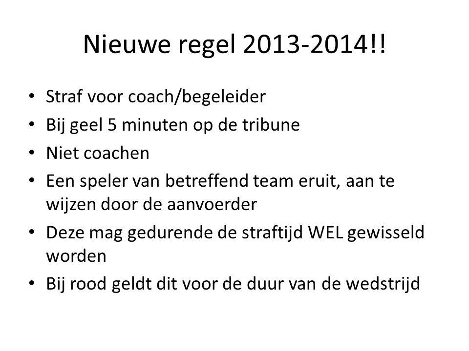 Nieuwe regel 2013-2014!! Straf voor coach/begeleider