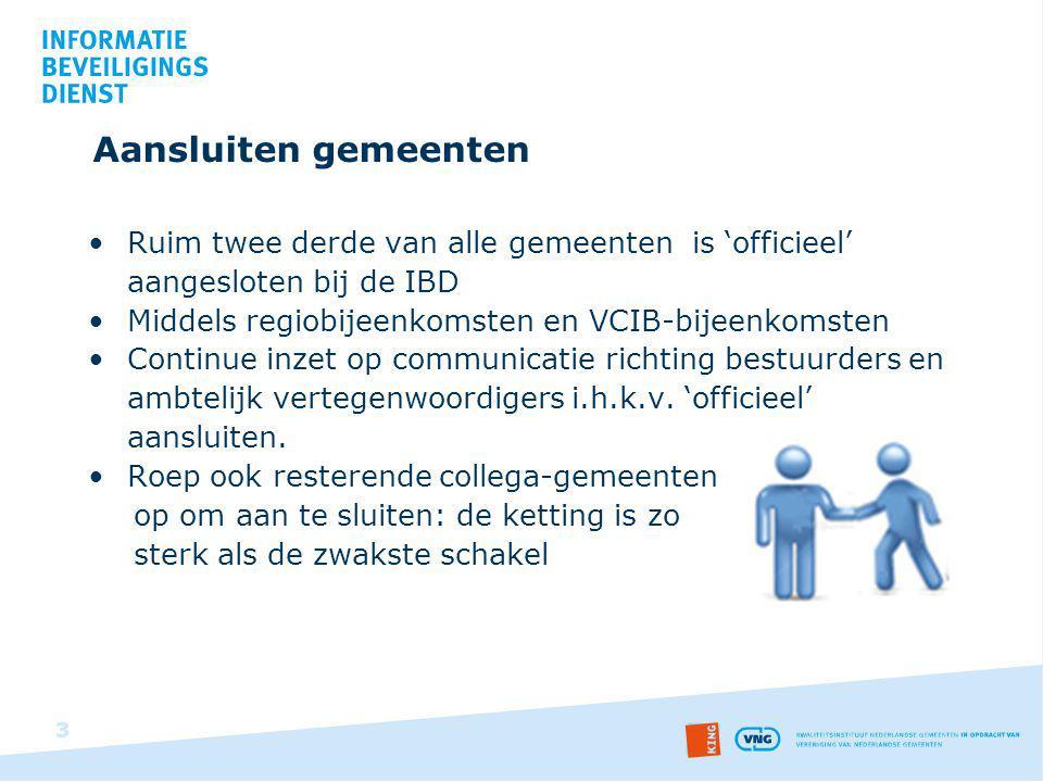 Aansluiten gemeenten Ruim twee derde van alle gemeenten is 'officieel' aangesloten bij de IBD. Middels regiobijeenkomsten en VCIB-bijeenkomsten.