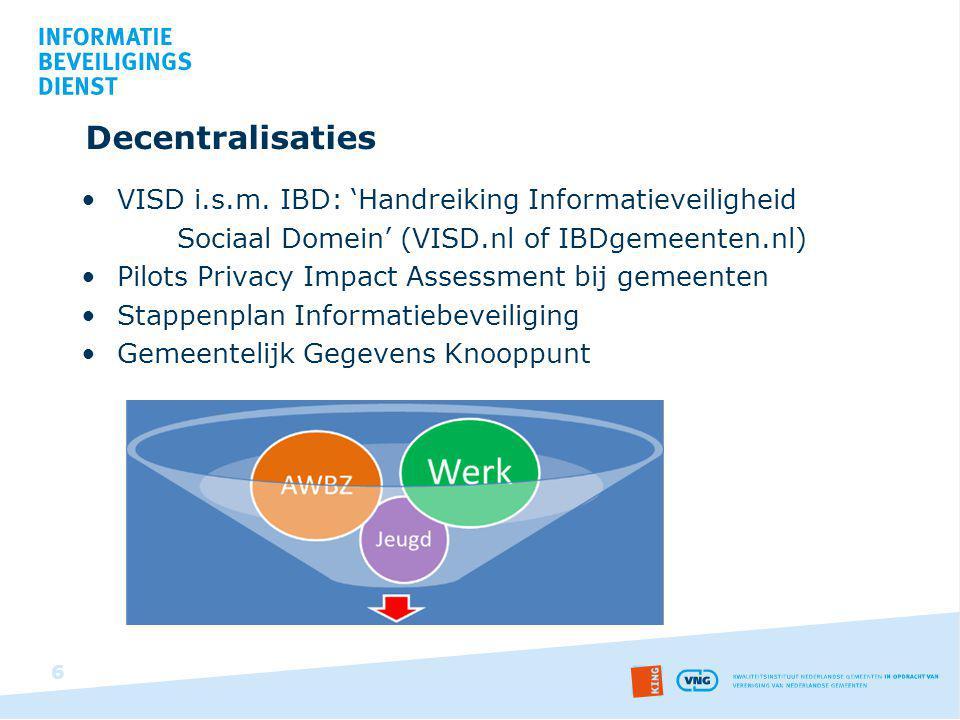 Decentralisaties VISD i.s.m. IBD: 'Handreiking Informatieveiligheid