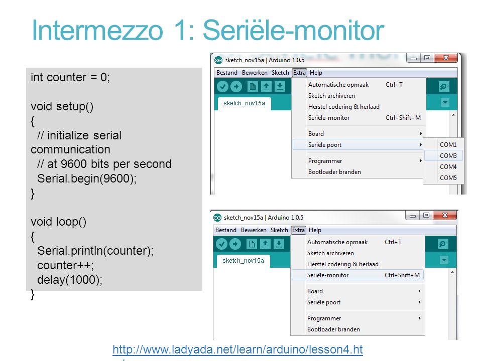 Intermezzo 1: Seriële-monitor