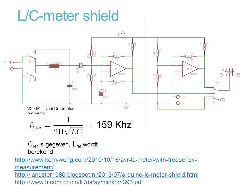 L/C-meter shield Cref is gegeven, Lref wordt berekend = 159 Khz