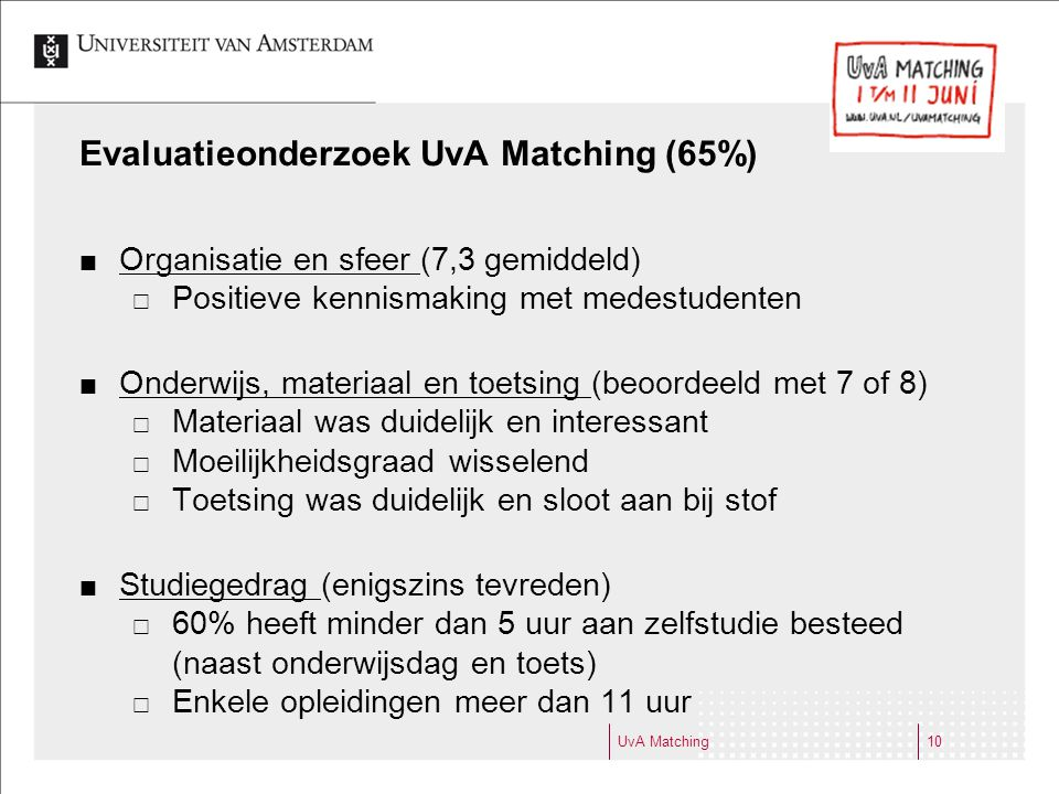 Evaluatieonderzoek UvA Matching (65%)