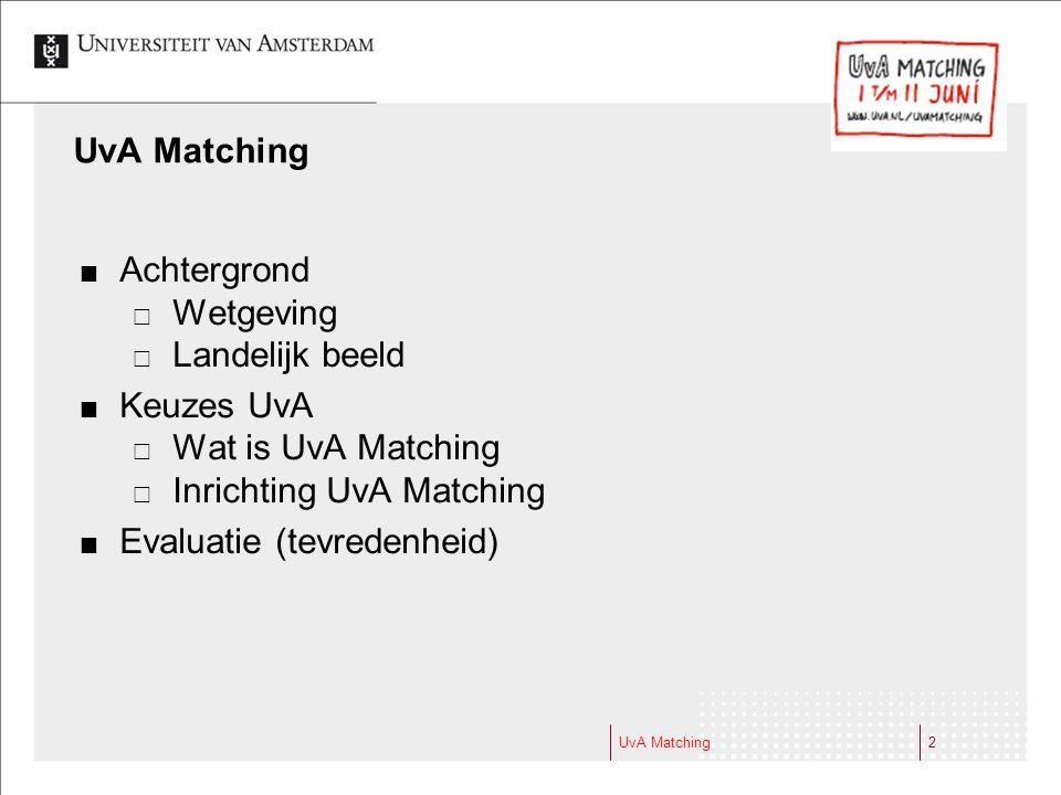 Inrichting UvA Matching Evaluatie (tevredenheid)