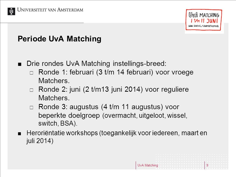Periode UvA Matching Drie rondes UvA Matching instellings-breed: