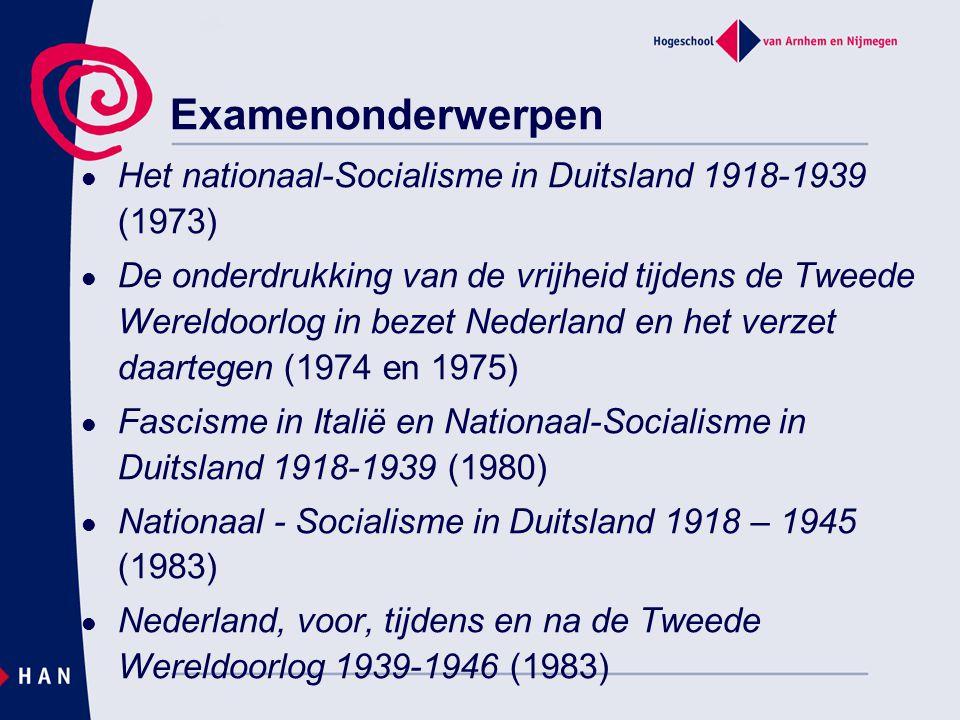 Examenonderwerpen Het nationaal-Socialisme in Duitsland 1918-1939 (1973)