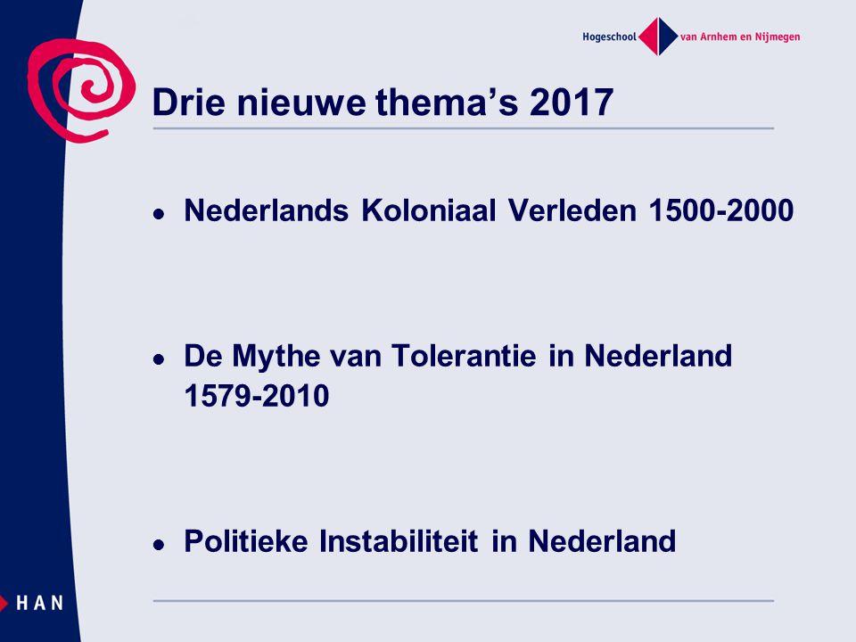 Drie nieuwe thema's 2017 Nederlands Koloniaal Verleden 1500-2000