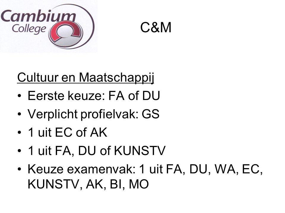 C&M Cultuur en Maatschappij Eerste keuze: FA of DU