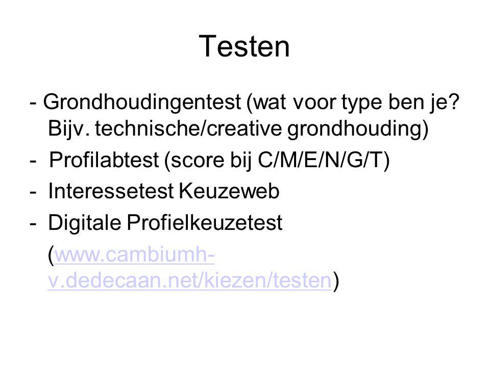 Testen - Grondhoudingentest (wat voor type ben je Bijv. technische/creative grondhouding) - Profilabtest (score bij C/M/E/N/G/T)