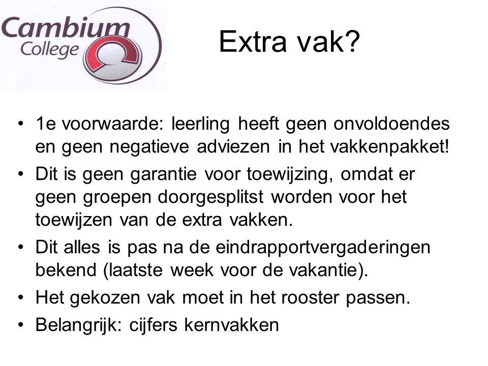 E Extra vak 1e voorwaarde: leerling heeft geen onvoldoendes en geen negatieve adviezen in het vakkenpakket!